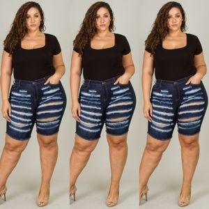 Pants - Plus size denim destroyed bermuda shorts